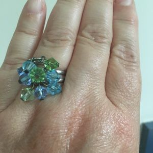 """"""" Sea tones"""" themed 9 crystal """" bling ring"""""""